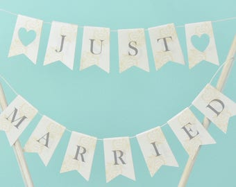 Just Married cake topper Wedding cake bunting