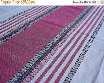 Summer sale Woven Tablecloth. Linen tablecloth.Handmade tablecloth. Swedish tablecloth. Table decor.Red and black stripes.Swedish Vintage 19