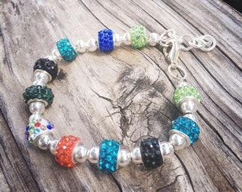 Blues, Greens and Orange European Beaded Bracelet - MY LIFE SERIES by Precision Princess