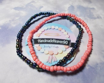 Coral-Metallic Anklets (2)
