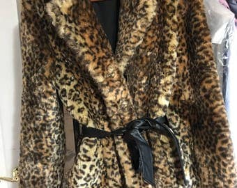 Leopard faux fur jacket coat size M