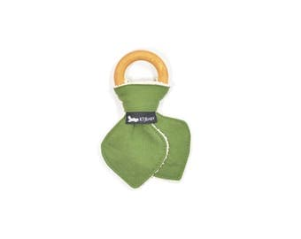 Organic Wooden Teething Ring | Olive Green Teether | Olive Green Organic Baby Teether | Army Green Teething Toy | Army Green Teether