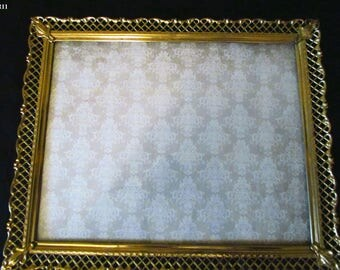 Vintage Gold Metal 8x10 Picture Frame or Tray