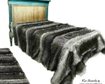 Plush Faux Fur Bedspread - Gray Wolf - Pieced Fur Designer Throws by Fur Accents USA