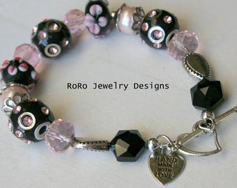 Pink and Black Lampwork Beaded Bracelet