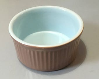 "Langley Lucerne 6.5"" Small Souffle Dish Mill Blue and Brown"