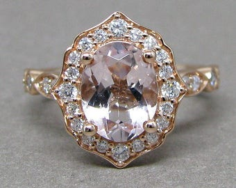 Oval 9x7mm Morganite Scallped Diamond Engagement Ring 14k Rose Gold Wedding Bridal Ring Round Diamonds