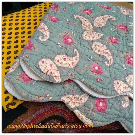 Green Provence Pillow Cover Pink Roses Paisley Quilted French Cotton Home Decor Linen #sophieladydeparis