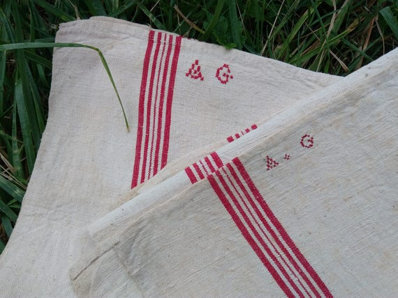 Antique French Kitchen Towel Large Thick Metis Linen Dish Cloth Unused Off White Red Line Rustic Tea Towel Monogram #sophieladydeparis
