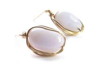 CHIBI stud earrings // Grade A blue lace agate stud earrings // Gold filled stud earrings // Gift for her