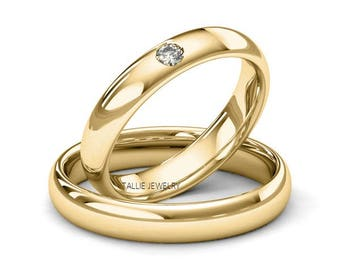 His and Hers  Matching Wedding Rings,14k Yellow Gold Diamond Wedding Bands,Dome Shiny 4mm Mens Womens Wedding Bands