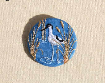 Little embroidered bird brooch, the Avocet