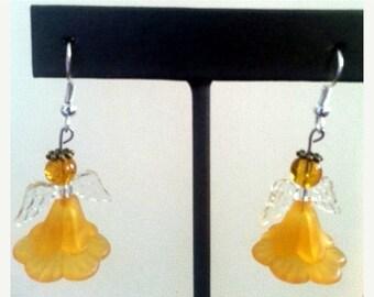 SUMMER HEAT SALE Orange Flower Angel Dangle Earrings