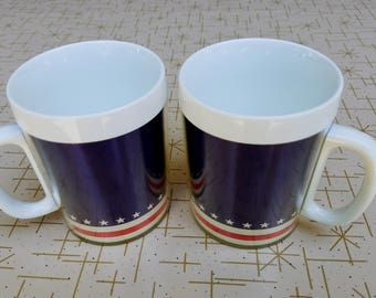Red White Blue Plastic Vintage Mugs by Thermo Serv Mid Century Coffee Cups Stars Stripes