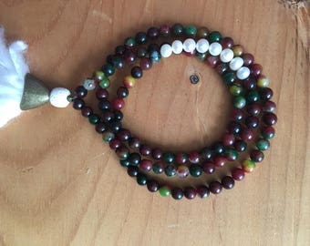 Colorful Jade and Freshwater Pearls 6mm Mala