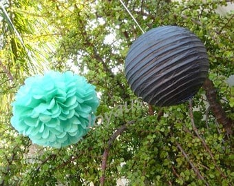 Mint Pom Poms & Black Paper Lanterns for Wedding Engagement Anniversary Birthday Party Bridal Baby Shower Decoration
