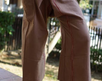 FZ0072 Hand Sewing Inseam design for Thai Fisherman Pants Wide Leg pants, Wrap pants, Unisex pants, Thai Fisherman Pants, Cotton