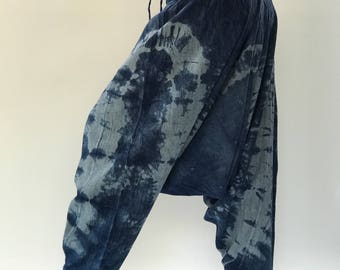 TD0070 Indigo Harem pants  Handmade pants, tiedye Thick Smock Waist Low Crotch, Women Yoga Harem Pants  - elastic waistband and cuffs - Fits