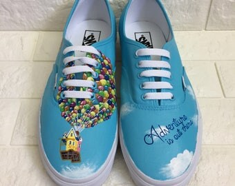 UP Hand painted Custom UP Shoes. Ellie & Carl. Adventures is out there. Disney Toms. Disney Shoes. Pixar Toms. Can be made on Vans.