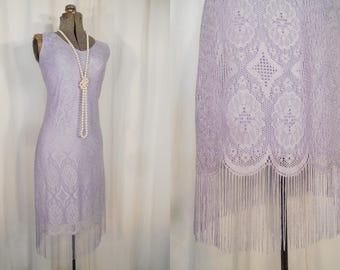 Vintage 1990s Flapper Dress / 90s 20s Dress / Lavender Purple Lace Flapper Costume