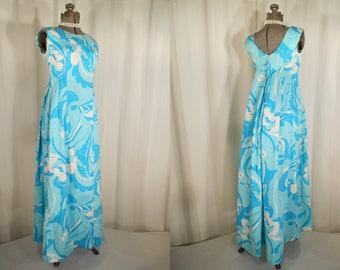 Vintage 1960s Maxi Dress - 60s Psychedelic Cotton Hawaiian Dress, Teal Blue Maxi