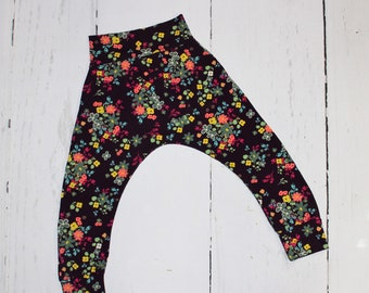 Blossoms in Plum Harem Pants, Baby and Kids Harem Pant Leggings, Be a Wildflower, She's a Wildflower, Grow Wild, Floral Yoga Pants
