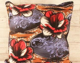 Block Print Throw Cushion - Graphic Lilies