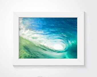 Ocean painting, wave painting, surfing wall art, ocean wall art, digital painting, colorful wall art, home decor, surfshop poster, wallart