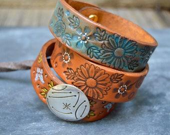 Turquoise Inked Leather Bracelet. Boho. South Western Design. Cowgirl . Bracelet. Boho . By Nin and Bumm