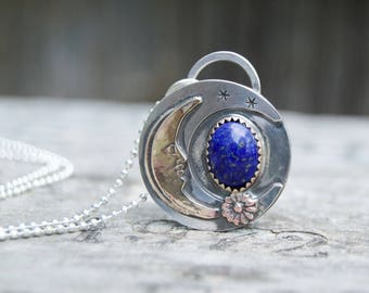 Blue Lapis Sterling Silver Necklace . Moon & Stars . Hand Stamped. Star . Sterling Necklace.Rustic. Necklace. Mixed Metals