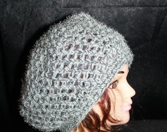 crocheted beret, wool and fancy silver-haired
