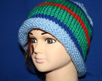 simple blue and green jersey Hat