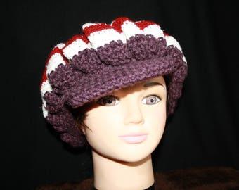 Purple and White Cap