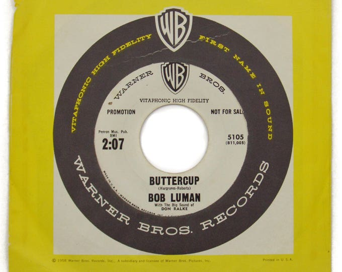 Vintage 50s Bob Luman Buttercup/Dreamy Doll DJ Promo Rockabilly 45 RPM Single Record Vinyl