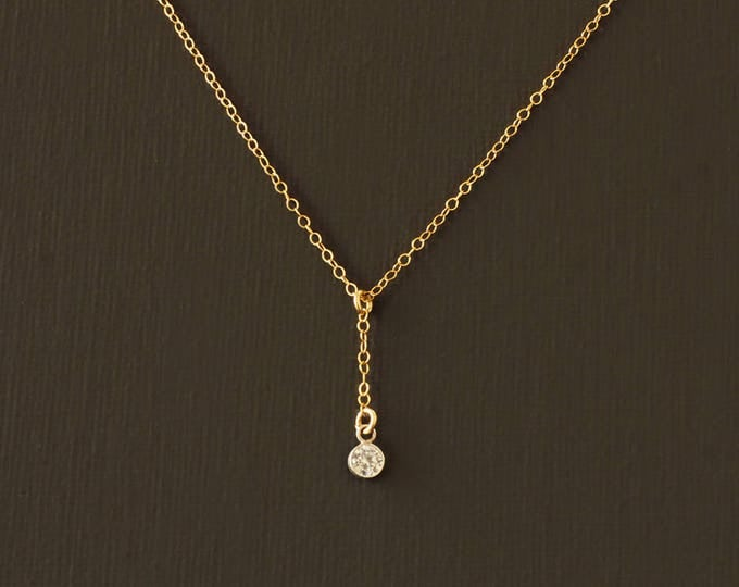 Delicate Y Necklace - 14K Gold Filled and CZ Crystal