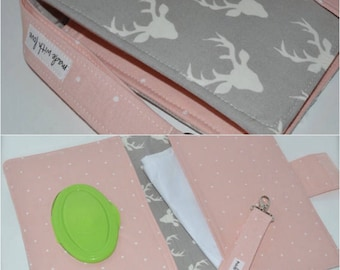 Diaper clutch / Buck / Gray and Pink