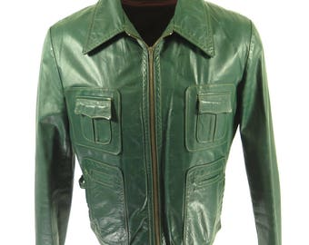 Vintage 60s Green Leather Jacket Mens 40 Additional Fleece Liner [I04O_2-10]