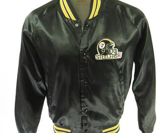 Vintage 80s Pittsburgh Steelers Chalk Line Jacket Mens XL Satin NFL Football [H97Q_1-1_Puffy]
