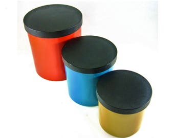 Vintage Canisters Lacquerware Canisters Nesting Canisters Mid-Century Kitchen Red Blue Gold Vintage Lacquerware Vintage Kitchen Canister Set