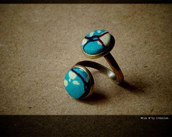 Ring Double adjustable turquoise African wax fabrics
