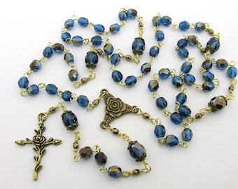 Catholic Rosary Beads - Antique Bronze Rose Cross and Centerpiece Five Decade Rosary - Rustic Style Cerulean Blue Rosary - Catholic Gift