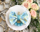 Dainty Spring Blossom Bow in Teal and Daisy