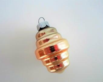 Shiny Brite Gold Barrel or Lantern Christmas Ornament