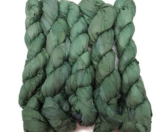 New! Recycled Sari Silk Ribbon, 100g skeins , Ivy