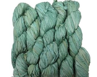 SALE New! Sari Silk Ribbon, 100g , Color: Vintage Mint
