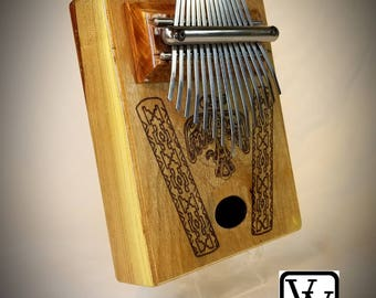 15 Note Thumb Harp with Thunderbird Engraving