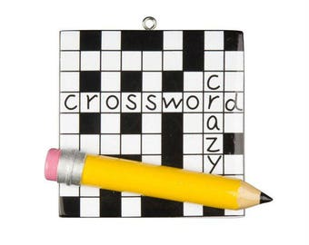 FREE SHIPPING Crossword Puzzle Personalized Christmas Ornament / Crossword Crazy / Hand Personalized