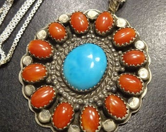 """Vintage NAVAJO Sterling Silver CORAL & Turquoise Cluster PENDANT + 18"""" Chain"""