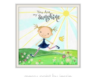 You are my sunshine, girl in Sunshine Wall Art, You are my sunshine wall art, Childrens Wall Art, Art for Girls Room