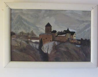 Vintage Wall Hanging Older Oil Painting of Monastary Nestled at Bottom of Snowy Mountains